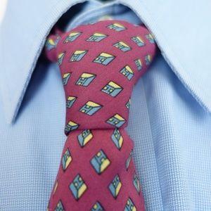 Rare Vintage Hermes Tie 914 HA Magenta Diamond